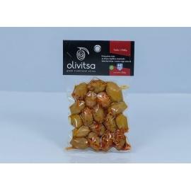 Marinované celé zelené olivy OLIVITSA s chilli 250g