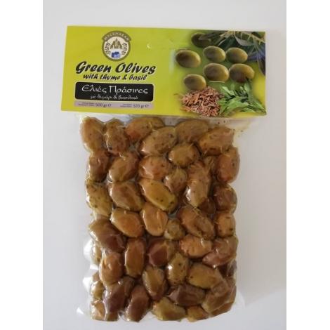 Marinované celé zelené olivy s tymiánom a bazalkou 500g