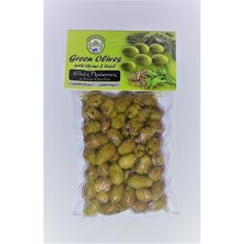 Marinované celé zelené olivy s tymiánom a bazalkou 200g