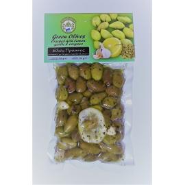 Marinované celé zelené olivy s citrónom, cesnakom a oregánom 200g