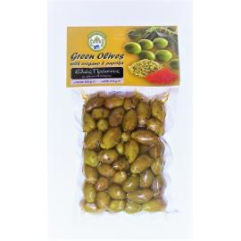 Marinované celé zelené olivy s oregánom a sladkou paprikou 200g